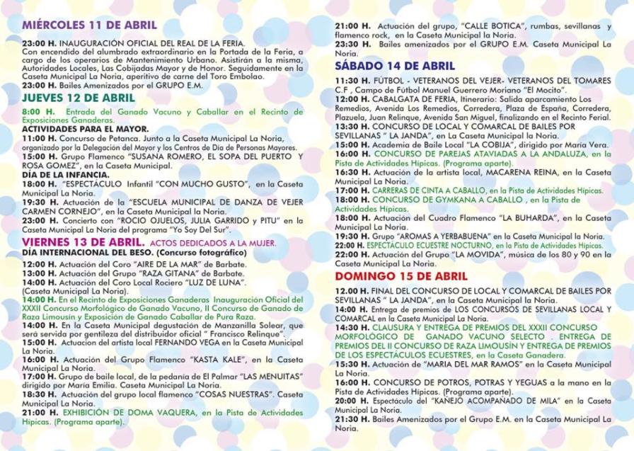 Programacion Feria de Abril 2018, vejer-by-manuel.com